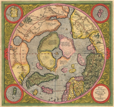 Antiguo Mapa del Polo por Mercator